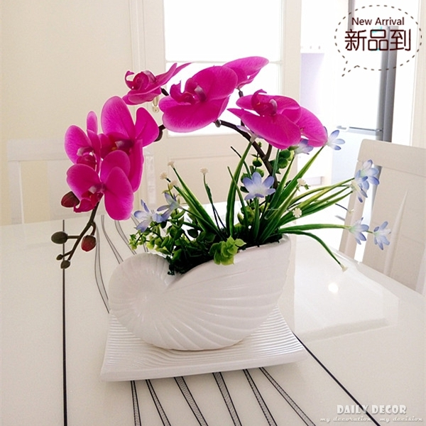 High Simulation Handmade Ikebana Artificial Orchid Flowers Arrangements Purple Real Touch Latex Potted Bonsai In Dried