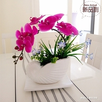 High simulation handmade ikebana artificial orchid flowers arrangements Purple real touch latex artificial orchid Potted Bonsai