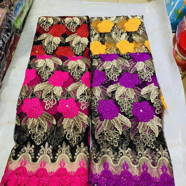 Tulle Embroidery African Lace Fabric With Rhinestones 2019 Latest Design Ankara Swiss Voile Lace Fabrics For Sewing Dress 5yards