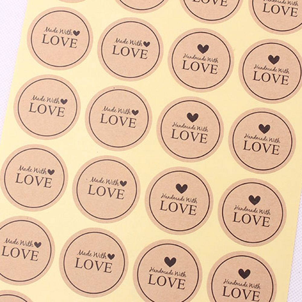 60pcs Made With Love Heart Handmade Cake Packaging Sealing Label Kraft Sticker Baking DIY Gift Stickers
