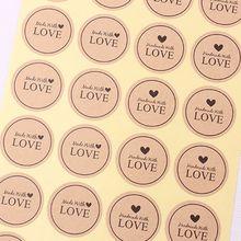 60шт сделано с любовью сердце ручной работы торт упаковка уплотнения Крафт этикетка наклейка DIY выпечки подарочные наклейки