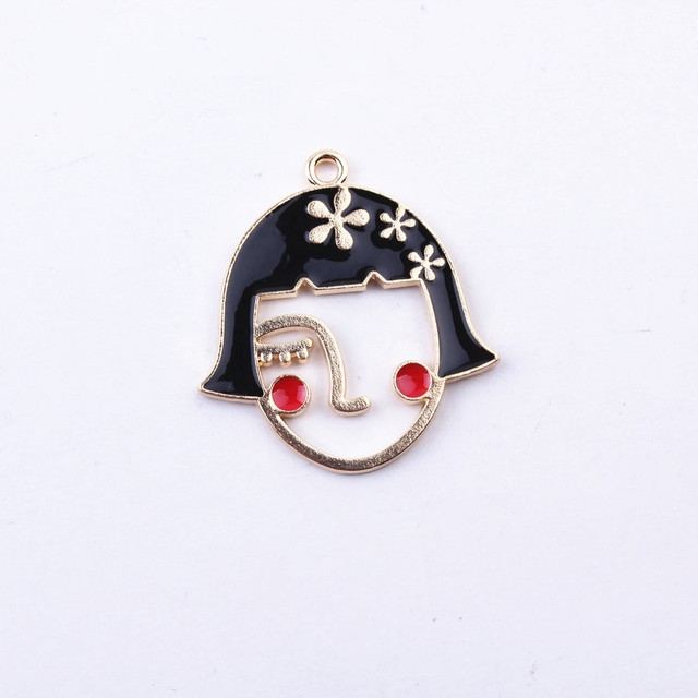 10pcs Unicorn Human Face Drop Oil Enamel Charm Alloy Jewelry Making Pendant DIY fit Bracelet Necklace Fashion Accessories