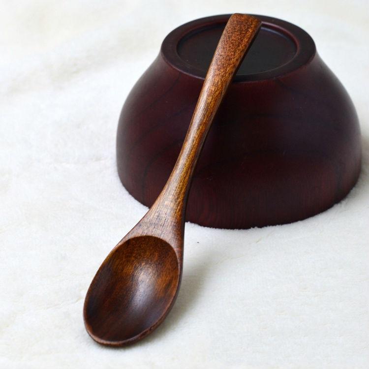 15-3cm Wooden Spoon Soup Coffee Dessert Ice Cream Cake Spoons Kids Tableware (3)