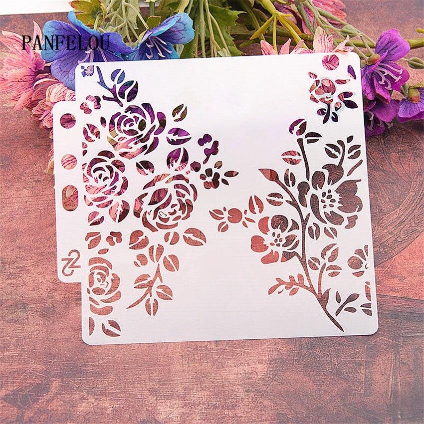 Flowers Cover Scrapbook Stencils Spray Plastic Mold Shield DIY Cake Hollow Embellishment Printing Lace Ruler Valentine