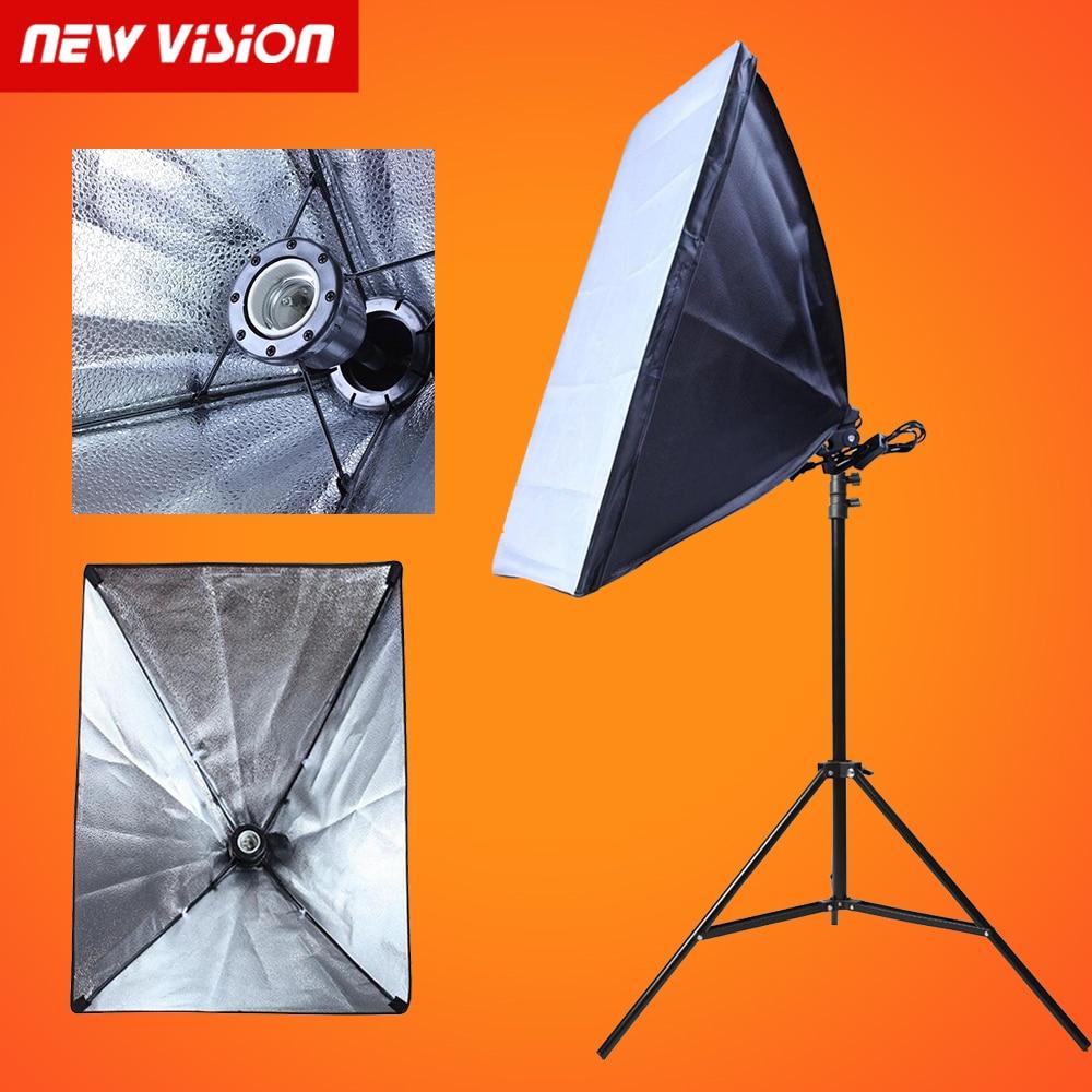 купить Photo Studio Softbox Kit E27 50*70cm Lamp Holder Flash Lighting Softbox +2m Light Stand Photo Soft Box онлайн