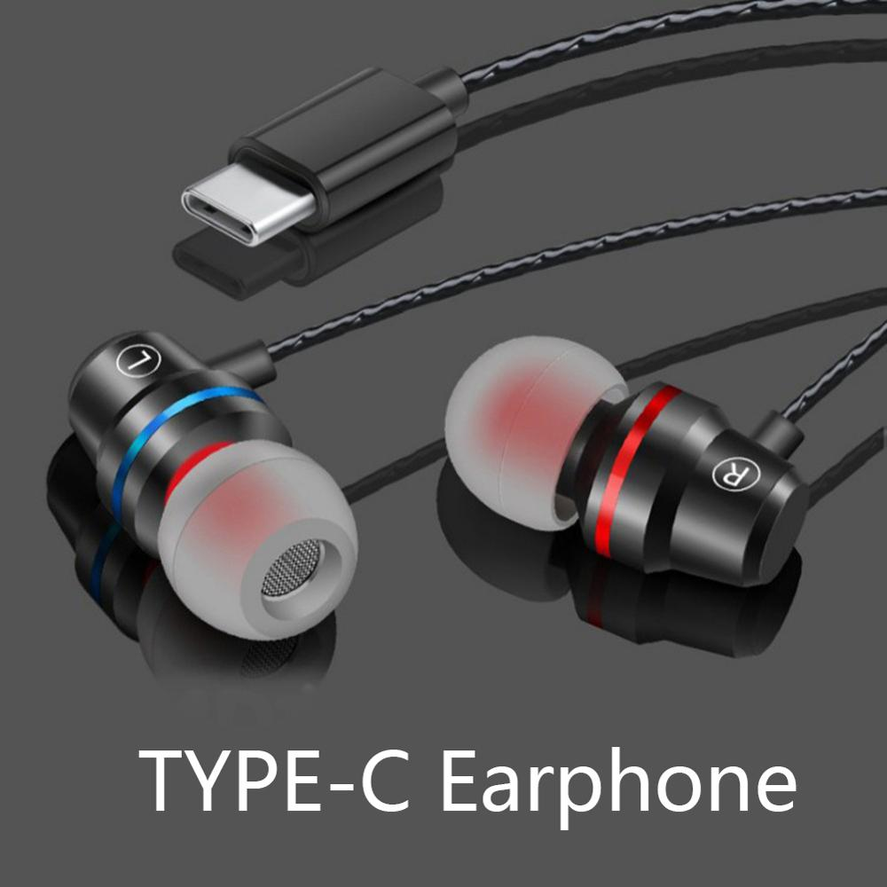 Type C Earphone Metal Headset Super Bass Earbuds with Microphone For Mobile Phone Xiaomi Huawei Mi 6 8 9 Mate20 Intelligent Wire