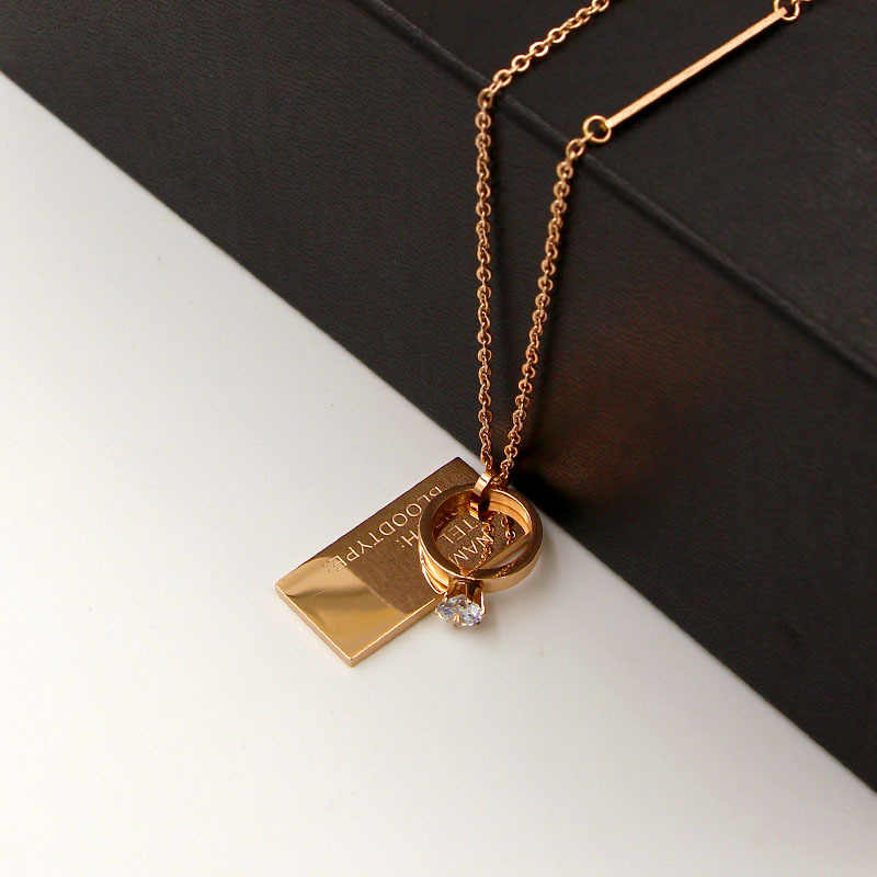 Fashion Letter Love Square Crystal Circle Tag Pendant Necklace Sweater Chain Rose Gold Color Stainless Steel Women Gift