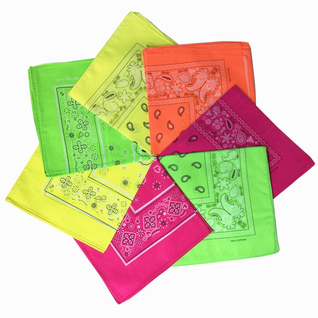 Intelligent 24pcsykq Neon Paisley Print Bandanas Hip Pop Cotton Head Kerchiefs For Men Women Non Fading Sport Bandana Wholesale Men's Scarves