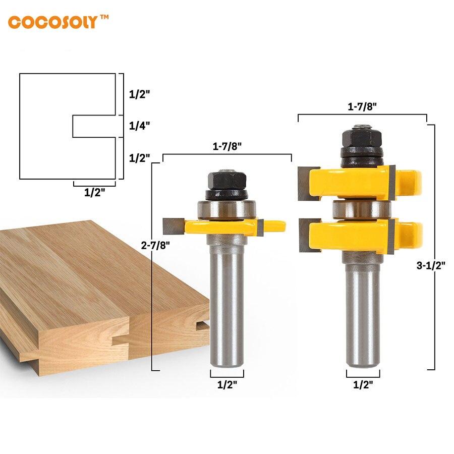 2pcs/set DIY Woodworking Tools 1-1/4 2 Bit Tongue and Groove Router Bit Set - 1/2 Shank 2pcs set woodworking tools tongue