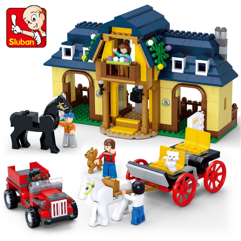 B0560 SLUBAN Happy Farm Stable Model Building Blocks Classic Enlighten DIY Action Figure Toys For Children Compatible Legoe 1700 sluban city police speed ship patrol boat model building blocks enlighten action figure toys for children compatible legoe