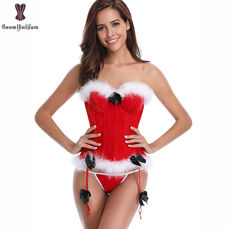 Red   Corset   For Christmas Gift Fish Bone Overbust Corselet Bowknot Strap   Bustier   Sexy Fancy Xmas   Corset   Top Push Up Cup Lingeries