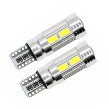 2Pcs/Pair SUNKIA W5W T10 ERROR Free Interior Xenon White LED Canbus 10-SMD 5630 with Lens Projector Aluminum Case Bulbs
