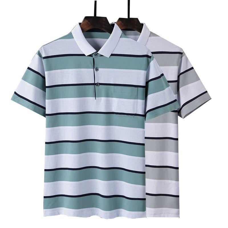 Hot Sale New 2019 Fashion Brand Men   polo   shirt Striped Short-Sleeve Slim Fit Shirt Men 85% Cotton   polo   Shirts Casual Shirts 3XL