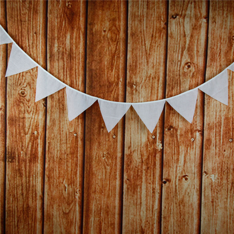 12 Flags 3 2m Classical White Cotton Fabric Bunting Pennant Flags Banner Garland Baby Shower Outdoor DIY Home Decor Supplies in Banners Streamers Confetti from Home Garden