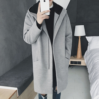 2018 Winter New Men's Woolen Coat In The Long Section Of Fashion Retro Gray Black Casual Temperament Long sleeved Hooded Jacket