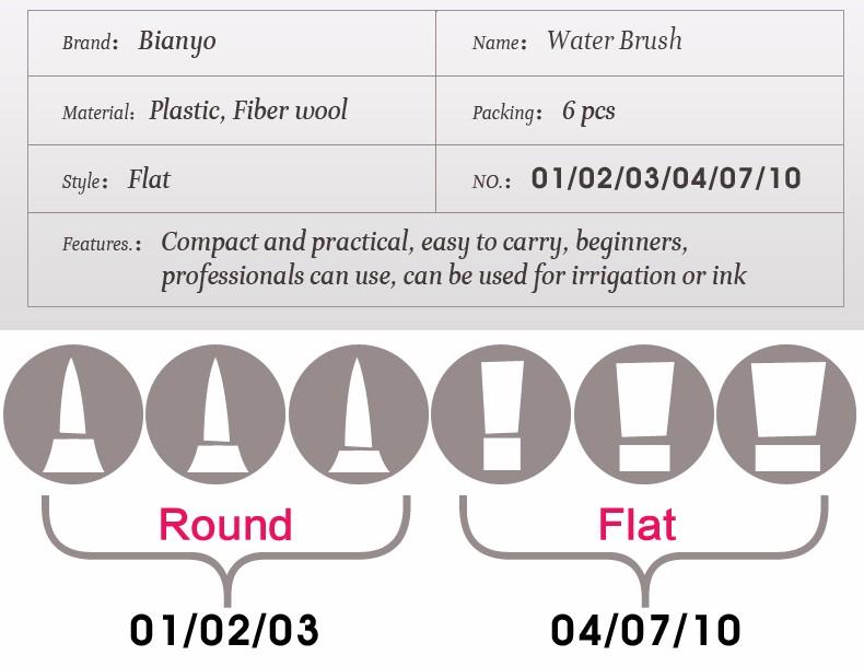 bianyo 6 шт. различных форма большой ёмкость бочку воды краски кисточки набор для самостоятельная увлажнения ручка каллиграфия рисования товары для рукоделия