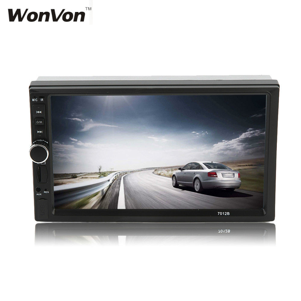 WONWON Car Vehicle 7 Inch Screen Doule Din Bluetooth FM DVD CD Player Built-in GPS High Quality with Camera 9 inch car headrest dvd player pillow universal digital screen zipper car monitor usb fm tv game ir remote free two headphones