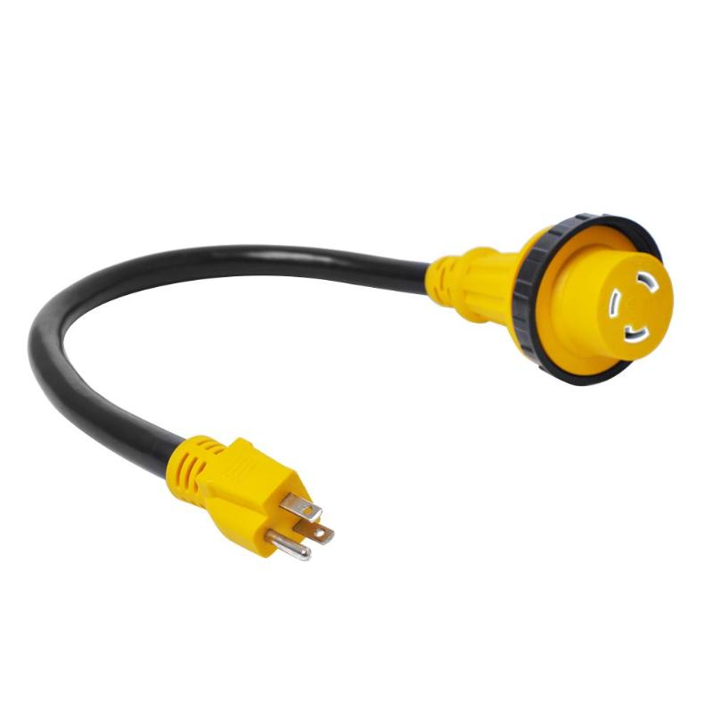 15A Male to 30A Female Dogbone Adapter Marine RV Electrical Converter Cable Auto Replacement Part Marine RV Electrical Adapter