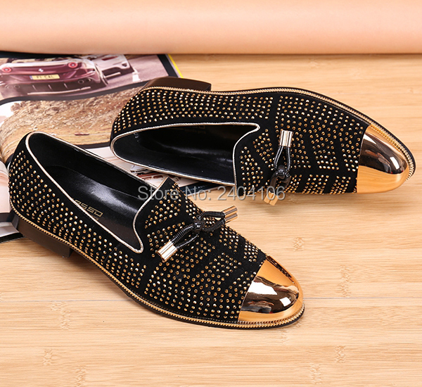 LTTL Top Quality Mens Spiked Loafer Shoes Size 36-46 Gold Metallic Toe Studded Party Prom Shoes Black Suede Men Velvet Loafers