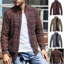 Новое поступление, зимнее пальто, вязанные куртки на молнии, мужские новые зимние вязаные кардиганы с длинными рукавами, воротник и свитер, 2018 пальто