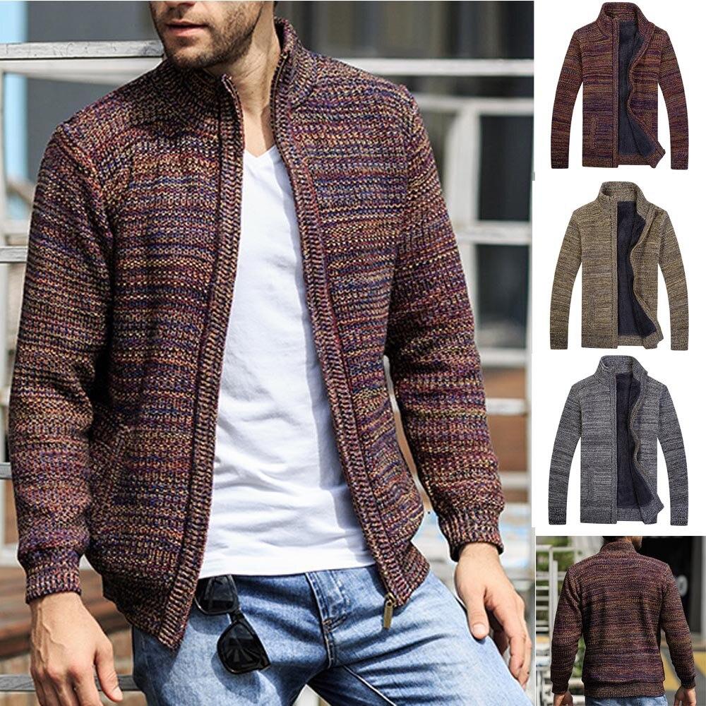Nouveauté hiver manteau tricoté vestes à glissière hommes nouveau hiver à manches longues tricoté Cardigan col et chandail 2018 manteau