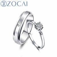 ZOCAI Wedding Couple Diamond Ring alloy diamond men ring 0.005 CT women ring 18k gold 0.04 CT Real certificated diamond rings
