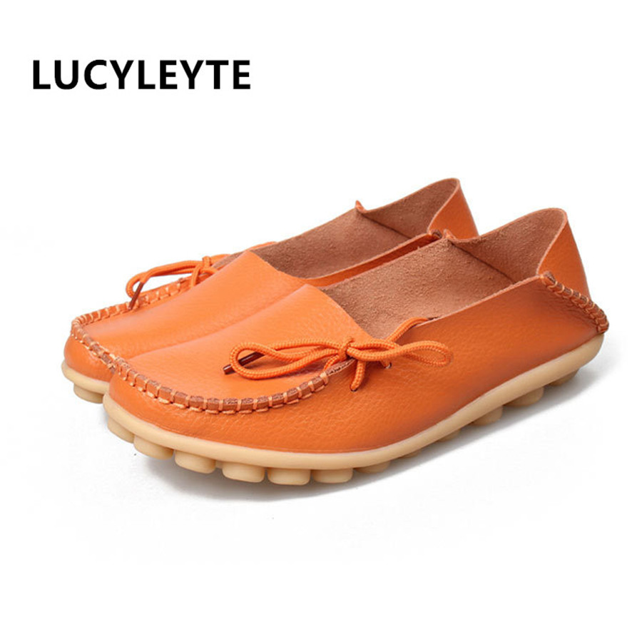 2017 casual leather breathable round head mother shoes anti-skid beef tendon bottom shallow mouth nurse shoes