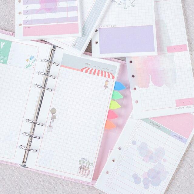 40 листов/серия A6 A5 Девчушки Красочные заправки тетрадь заменить цвет core вкладыш канцелярские планировщик кольцо binder бумаги
