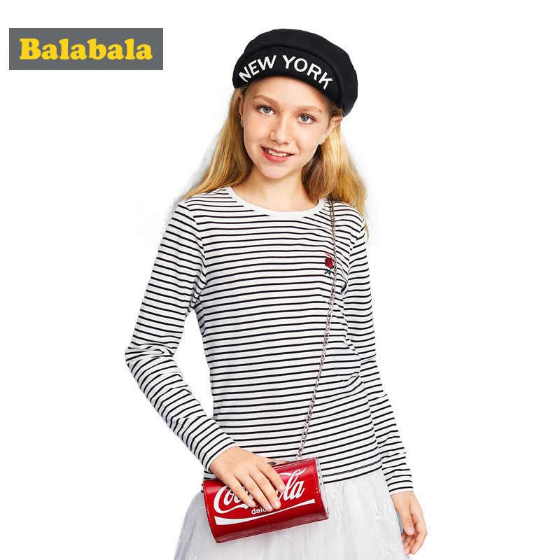 Balabala/Одежда для девочек Весенняя футболка с длинным рукавом для девочек roupas/Толстовка детская одежда детские футболки с круглым вырезом для девочек