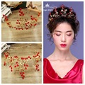 Red branches light retro Baroque bride wedding dress wedding accessories golden Tiara jewelry wholesale