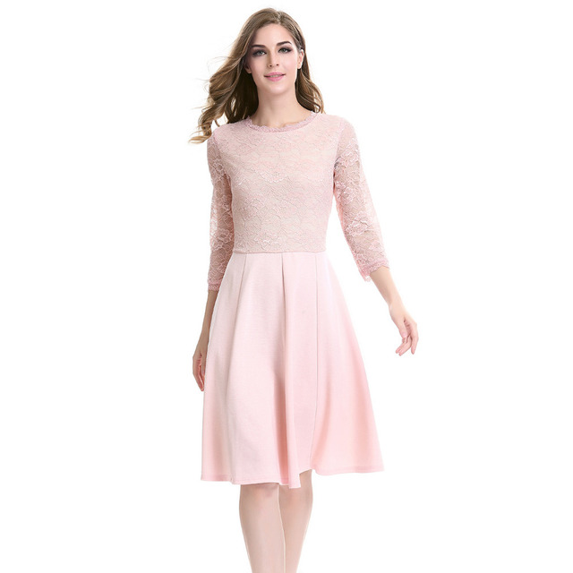 4a2b68a91a0 Pink Dress Luxury Lace Insert Elegent Women Swing Pleated Plus Size Dresses  Party Club Office Cute Clothing Celeb vestido festa