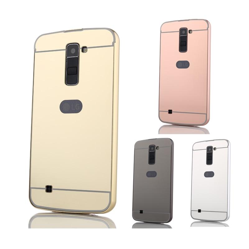 """Pro LG K 10 Lte pouzdro Pokovování kovový rám se zrcadlovým efektem Zadní kryt Pevné pouzdro pro LG K10 lte M2 K420N K430DS 5,3 """"telefonní pouzdra"""