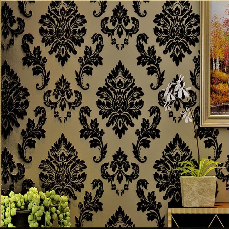 beibehang Flocking 3D Stereo Black European Damascus Non Woven Wallpaper Living Room Bedroom Background Wall Paper beibehang papel de parede luxury european damascus flocking non woven wallpapers living room dining room background wallpaper