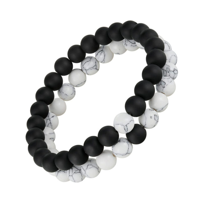 Hot Distance Bracelet White Black Yin Yang Beads For Women Men S Valentine