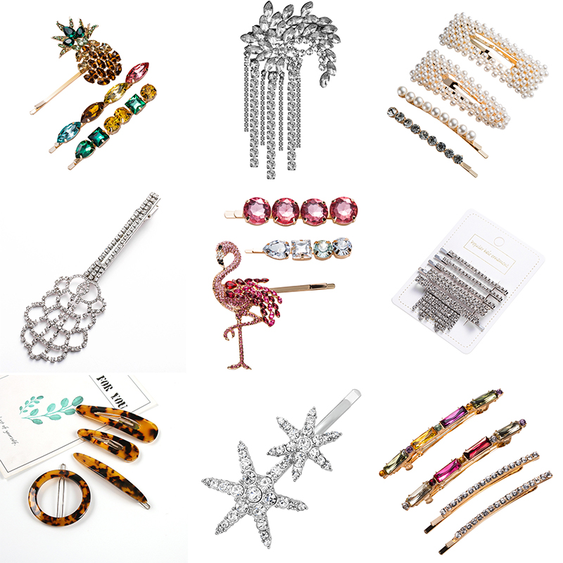 Shell Set Standing Bird Pineapple Hair Clips Various Pearl Rhinestone Women Hairpins ZA Style Hot Selling Hair Accessories FJ080