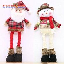 Stretchable 55cm Long Santa Claus Snowman Reindeer Doll Christmas Gift Plush Dolls Toys for Home Decor Ornaments JK292