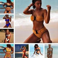 New Style Beach Swimsuit Women Sexy Bikini 2018 Sport Bikini Set white Solid Color Summer Beach Swimming Suit swimwear