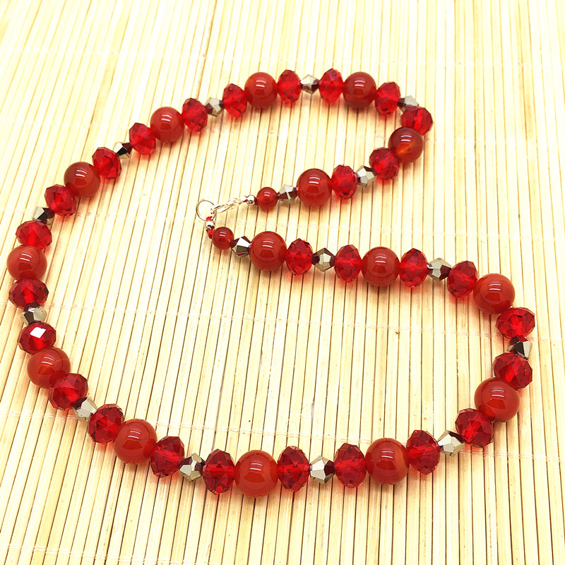 Natural Stone Necklace Carnelian Red Color Agate Bead Sweater Jewelry Gift Crystal