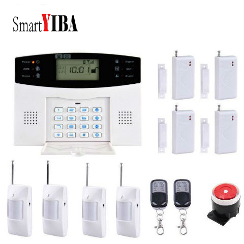 SmartYIBA Wireless GSM Autodial Intruder Alarm 433Mhz Sensors Alarm Kits Home Security Auto Dialing SMS Remote Control