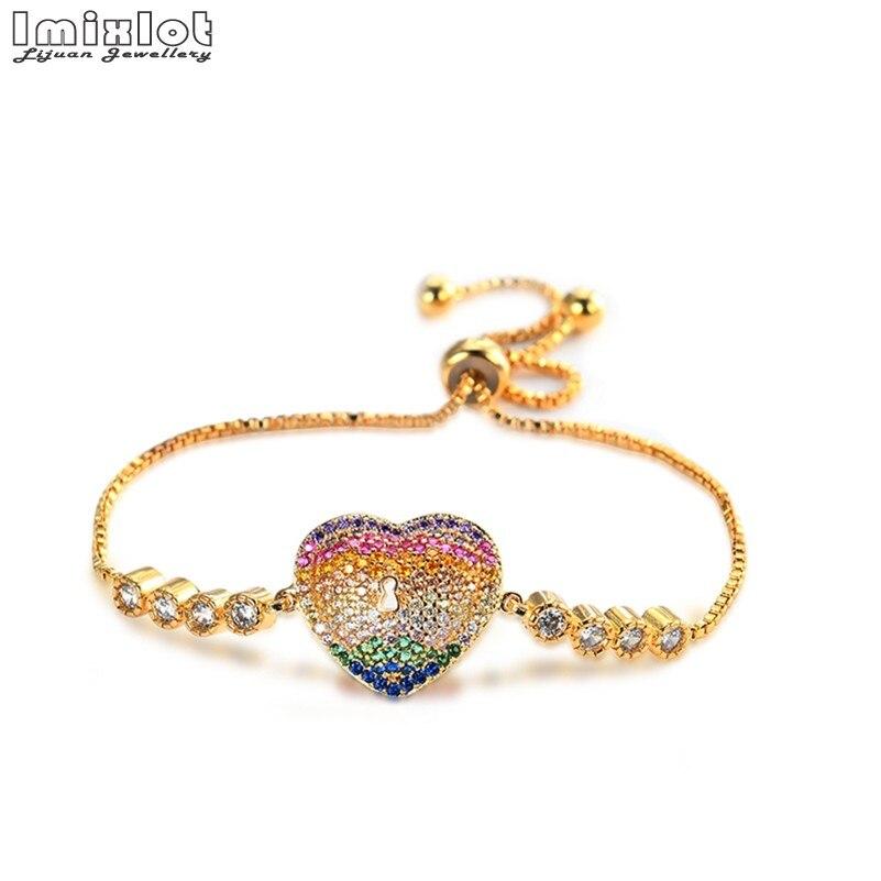 Top Quality Bracelet & Bangle for Women Captivate Bar Slider Brilliant CZ Rose Gold Color Jewelry Pulseira Feminina
