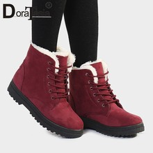 DORATASIA Dropship plus size 35-44 Hot Sale Winter warm Ankle Booties women add fur platform boots casual shoes woman(China)