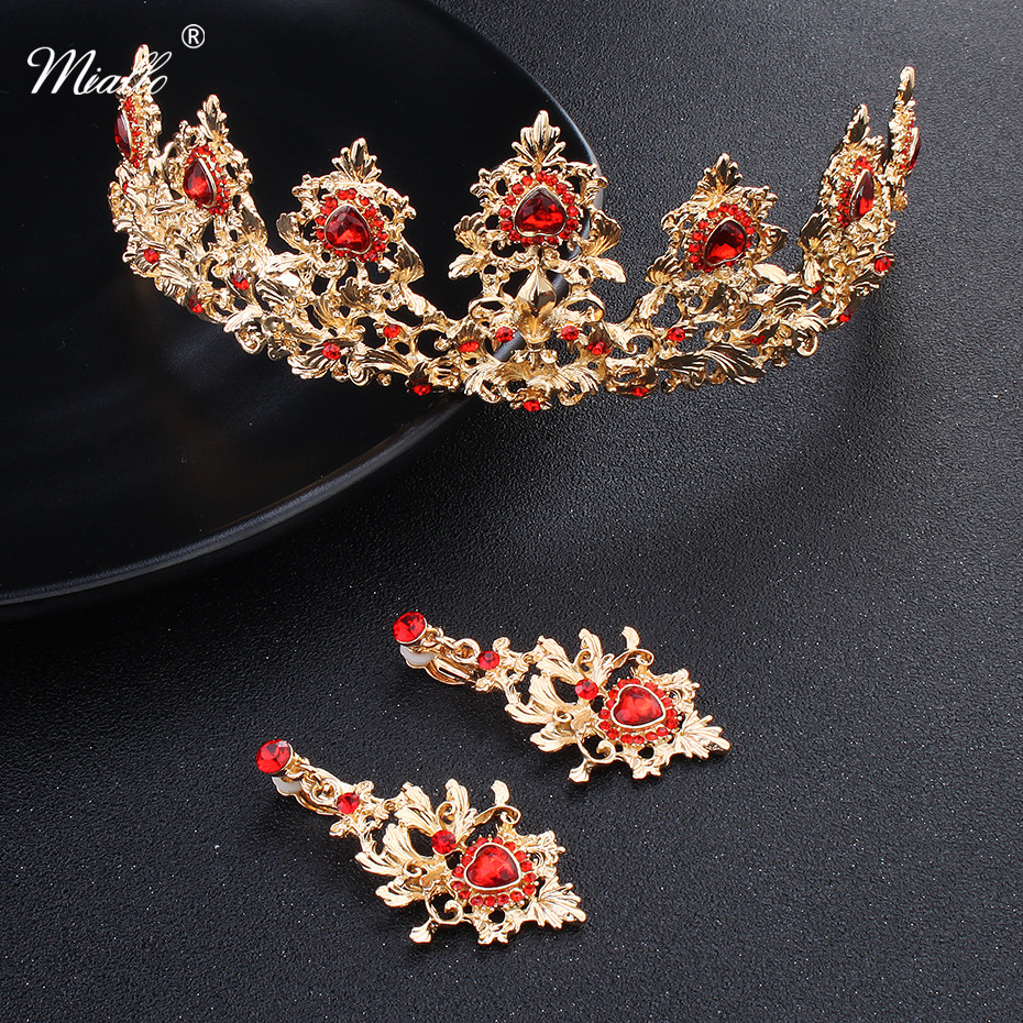 Miallo 2018 Newest Red Stone Gold Color Tiaras and Crowns Wedding Hair Accessories Bridal Head Jewelry Classic Brides Tiara