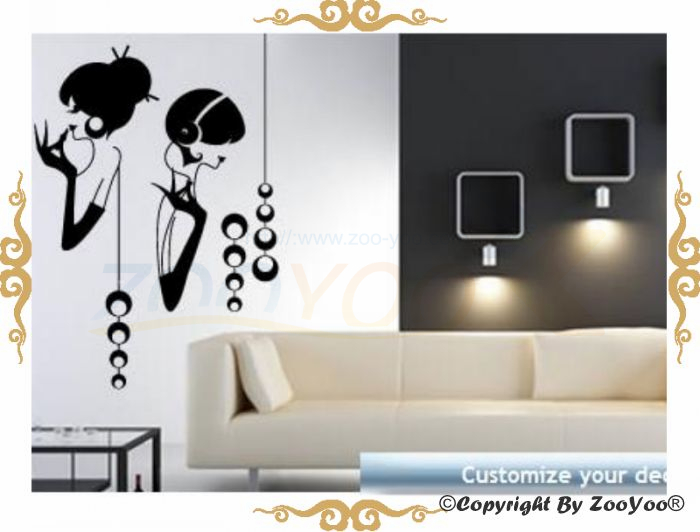 Fashion Gilr Listening Music Home Decor Quote Wall Decal