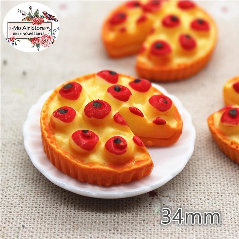 5PCS Apple Pie Resin Flat Back Cabochon Miniature Food Art Supply Decoration Charm Craft DIY Craft 34mm