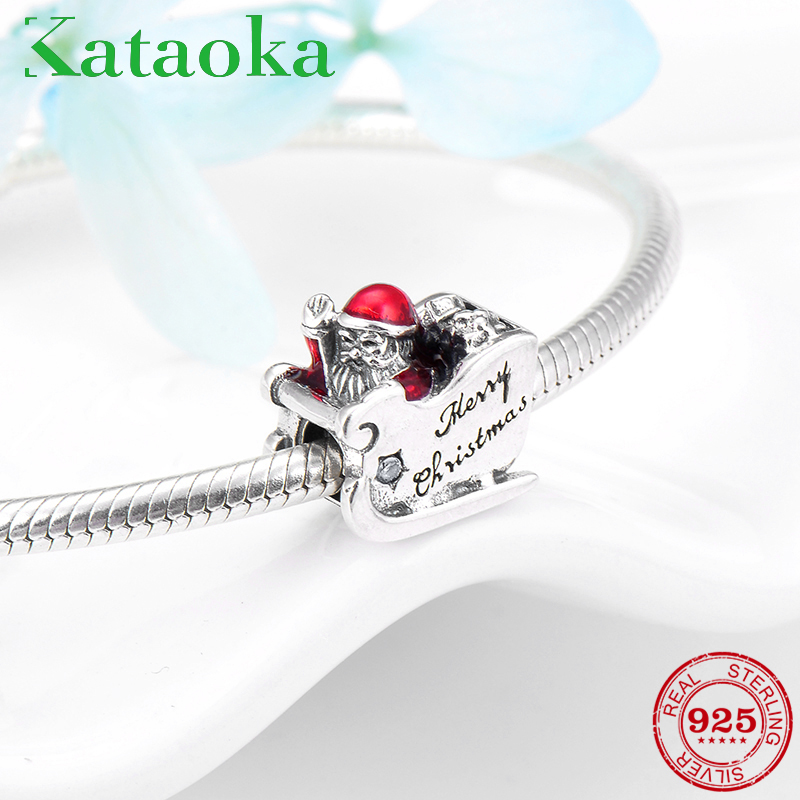 Happy Christmas Wave hands Santa Claus sled 925 Sterling Silver charms bead Fit Original Pandora Charms Bracelet Jewelry Making happy charms family noae0134