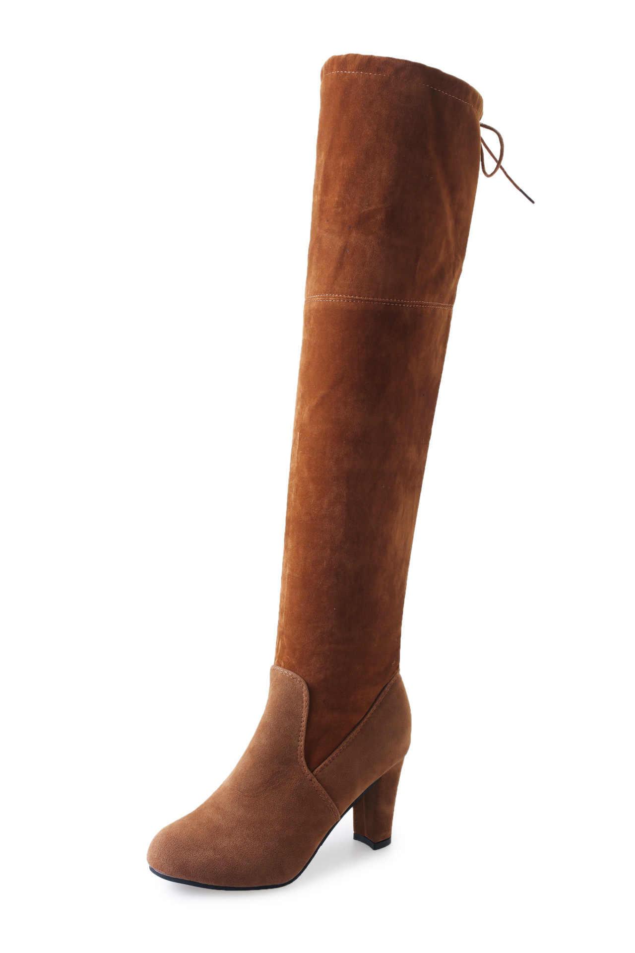 Fujin Frauen Stiefel Sexy Über knie High Heels Faux Wildleder Chunky Oberschenkel Hohe Stiefel Stretch Über die Knie Stiefel Frau schuhe Plus Größe