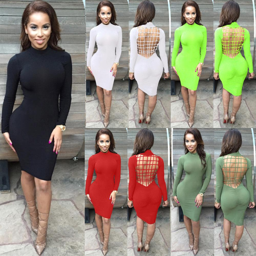 a3a186dbd Vestidos Sexy Club Stretch Laced Back Cage Winter Party Night Criss ...