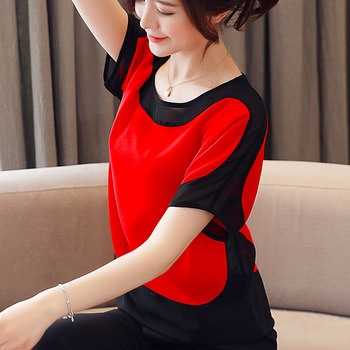 Womens tops and blouses fashion 2019 chiffon blouse plus size ladies tops shirts Solid Short O-Neck Batwing Sleeve 3397 50 2