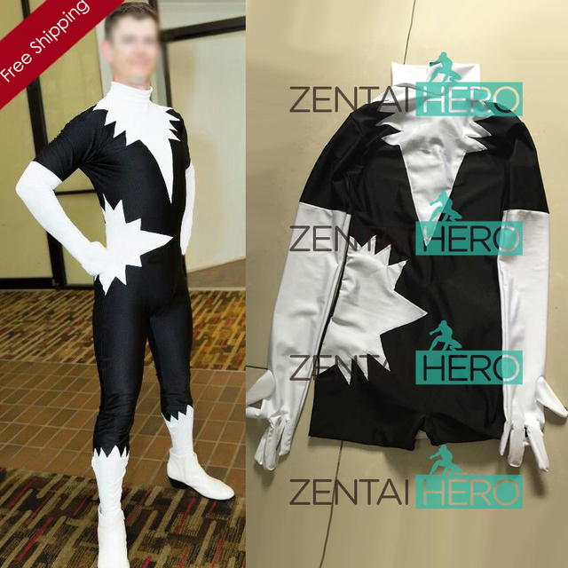 afd16310656d Free Shipping DHL Adult X-men Northstar Superhero Costume Halloween Party  Cosplay Black And White Lycra Zentai Catsuit SH1732