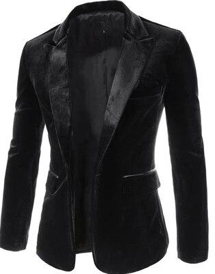 Loldeal Haute Qualité noir Velours Blazer Hommes 2018 Nouveau Automne Coréenne Mode Hommes Slim Seul Bouton Blazer Veste De Mariage Bl